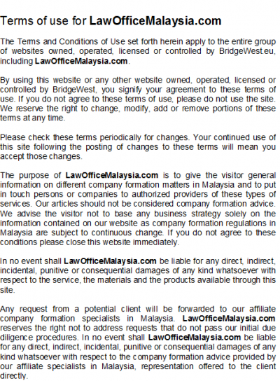 terms of use for malaysia